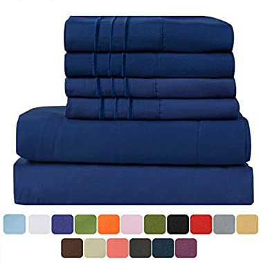 TasteLife 105 GSM Deep Pocket Bed Sheet Set Brushed Hypoallergenic Microfiber 1800 Bedding Sheets Wrinkle, Fade, Stain Resistant - 6 Piece(Queen, Navy Blue)
