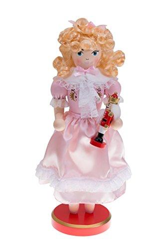 Clever Creations - Nussknacker-Prinzessin Clara - mit kleinem Nussknacker in der Hand - Festliche Weihnachtsdeko - einzigartige Ergänzung für Jede Sammlung - 100% Holz - Rosa - 35,6 cm