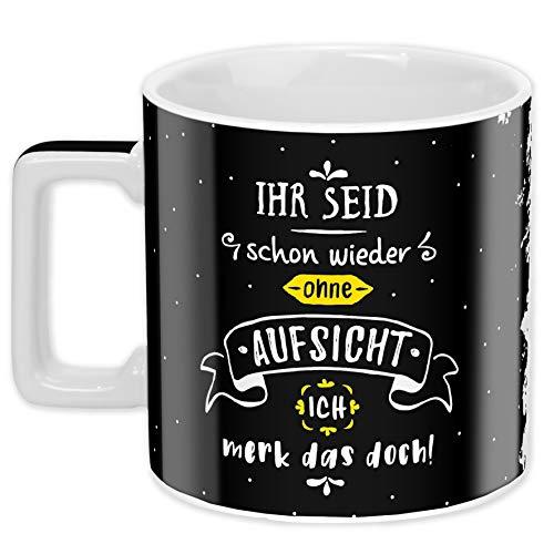 Sheepworld Wortheld-Tasse 45923, Kaffee-Tasse Ohne Aufsicht, Porzellan, 45 cl, schwarz-weiß