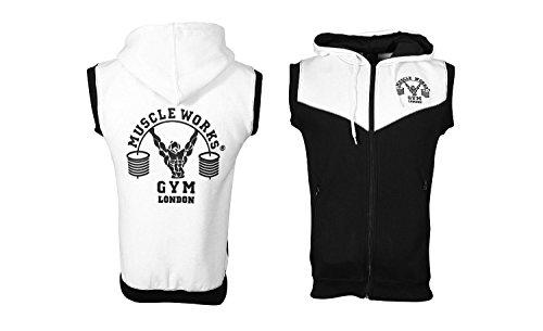 MUSCLE WERKT Gym Contrast Mouwloos Hoodie MMA Boksen Gym T Shirt Mannen BOXE Vest UFC Fleece Zwart/Wit
