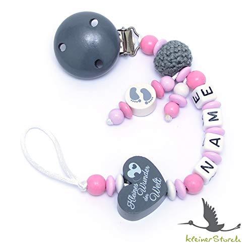 Baby SCHNULLERKETTE mit NAMEN - Schnullerhalter mit Wunschnamen - Mädchen Motiv Häkelperle und Herz in grau rosa