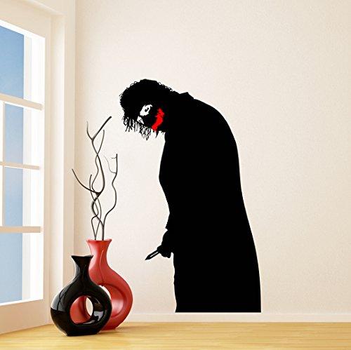 Slaf Ltd. (146x240 cm) Vinyl Wall Decal Scary Joker Decal/Waarom Dus Serieus? Afneembare Art Decor Sticker/Jocker met Mes en Glimlach + Gratis Willekeurig Decal Cadeau!