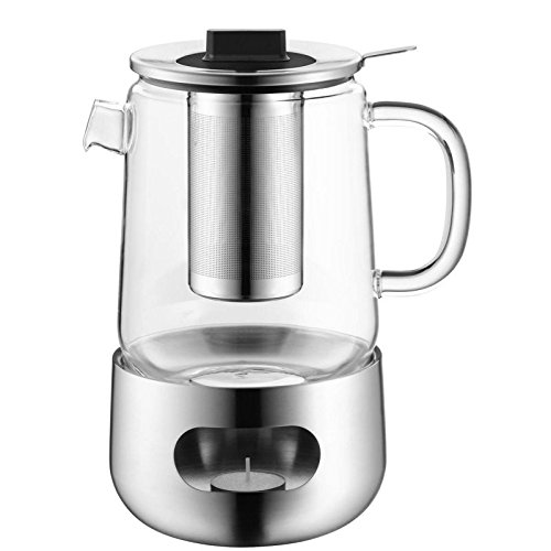 WMF SensiTea Teekanne mit Sieb und Stövchen, Glas, Edelstahl Cromargan, spülmaschinegeeignet, V 1,3l, H 21,3cm, Ø 14cm