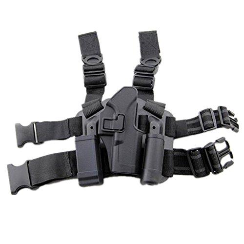 H World EU - Funda táctica de muslo para pierna derecha para guardar linterna y funda de glock 171922233132, negro