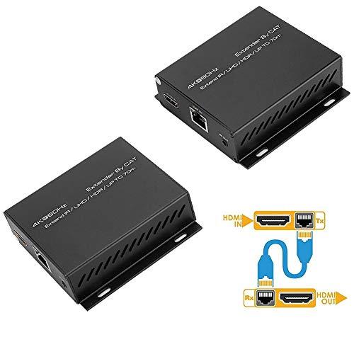 HDMI Extender, HDMI 2.0 Adaptador de receptor de transmisor de transmisor de extensor de red de una sola línea, hasta 1080P a 60Hz sobre un solo Cat5e/Cat6/Cat 7, soporte 3D, HDR(Enchufe de la UE)
