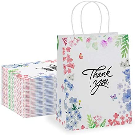 Thank You Gift Bags 50 Pack 8 X 4 X 10 Small Paper Bags With Handles Floral Design Thank You product image