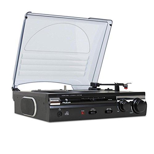 auna TT-182B • tocadiscos • reproductor de vinilos • accionamiento por correa • altavoces estéreo • puerto USB para digitalización • grabación MP3 • software PC/MAC • AUX-IN • negro