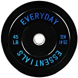 BalanceFrom Everyday Essentials Color Coded Olympic Bumper Plate Weight Plate Steel Hub, black, Single plate