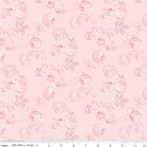 Rose & Violet's Garden Faded Rose Blush by Miss Rose Sister Violet - Rose & Violet's Garden Collection - Blush Cotton Fabric by Riley Blake Designs
