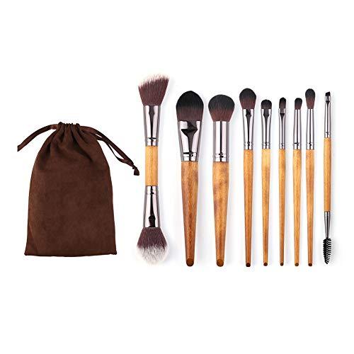 Jeu de 9 Pinceaux de Maquillage for Débutants Professionnels avec Pinceau de Base à Poils Naturels Synthétiques Et Purs