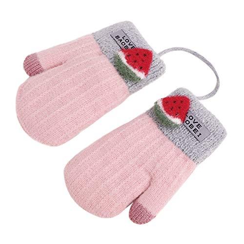 YSXY Schattige wanten baby kleinkind gebreide handschoenen voor 1,2,3 jaar jongens meisjes winter warme gebreide handschoenen met koord fleece binnenvoering