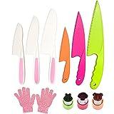 Pocomoco Kids Kitchen Knife Set Children Safe Cooking Plastic Knives Set with Cut-resistant Gloves (Ages 6-12), Vegetables Cutters Perfect for Fruit, Bread, Cake, Lettuce, Salad