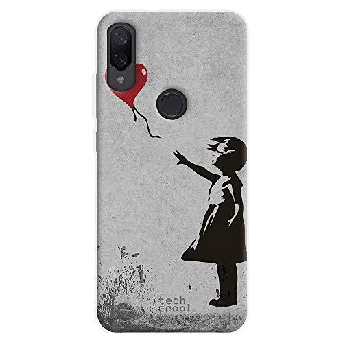 Funnytech® Funda Silicona para Xiaomi MI Play [Gel Silicona Flexible, Diseño Exclusivo] Banksy Graffiti niña Globo