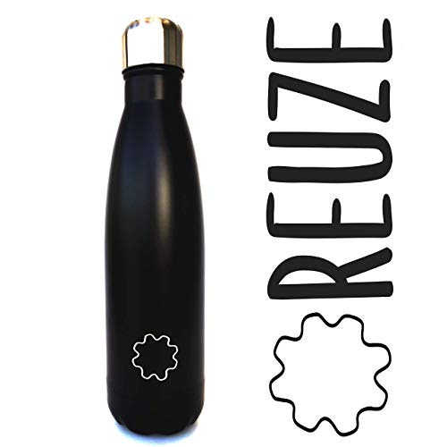 REUZE thermosfles 2.0, roestvrij staal, 500 ml, BPA-vrij, dubbellaags isolatie, thermisch bekerhouder, warm tot 12 uur E-frede, 24 uur, draagbaar voor kantoor, reizen, sport, yoga