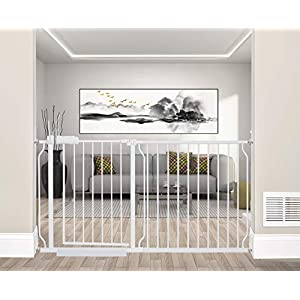 ALLAIBB Extra Wide Pressure Mounted Baby Gate Walk Through Child Kids Safety Toddler Tension White Long Large Pet Dog Gates with Extension for doorways Kitchen and Living Room (57.48-62.20″/146-158cm)