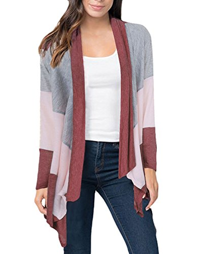 Auxo Womens Color Block Striped Draped Kimono Cardigan Long Sleeve Open Front Casual Knit Sweaters Coat Soft Outwear Red L