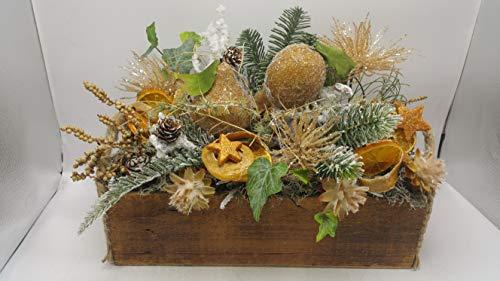 Weihnachtsgesteck Wintergesteck Kunstfloristik Früchte Sterne Zapfen Zaubernuss