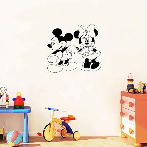 Vinilo decorativo Mickey y Minnie Mouse arte Mickey Mouse y Minnie Mouse Personajes de dibujos animados Dibujos animados de baile Decoración del hogar Guardería infantil