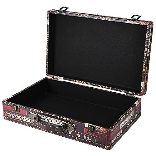 Buachois Maleta Retro Maleta Decorativa de Madera Caja de Almacenamiento Portátil de Madera Antigua Vintage Equipaje de Mano para Accesorios de Fotografía