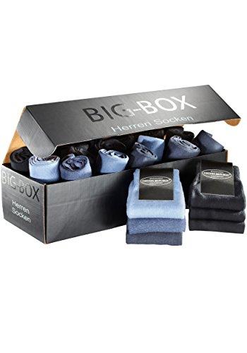 Cotton Republic< 20 Paar Herren Socken in der Socken-Big-Box für Freizeit & Business, Neu (35/38, 20 schwarz & Blautöne)