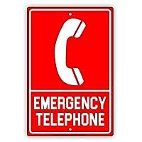 緊急電話の安全警告警告通知 メタルポスタレトロなポスタ安全標識壁パネル ティンサイン注意看板壁掛けプレート警告サイン絵図ショップ食料品ショッピングモールパーキングバークラブカフェレストラントイレ公共の場ギフト