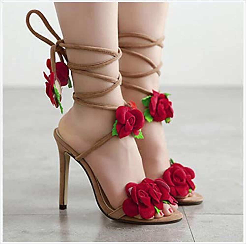 Women's PU(Polyurethane) Summer Sandals Stiletto Heel Peep Toe Red,US8 EU39 UK6 CN39
