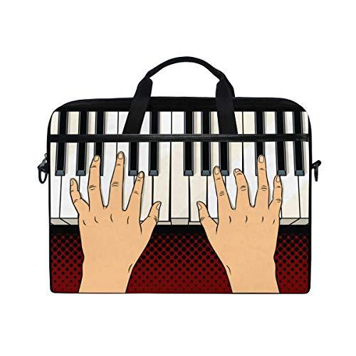 BEITUOLA 15-15.4 Zoll Laptop Taschen,Hände auf Klavier befestigt Comic Buch,Verschiedene Muster multifunktionale Laptop Tasche tragbare Hülle Aktentasche Umhängetasche