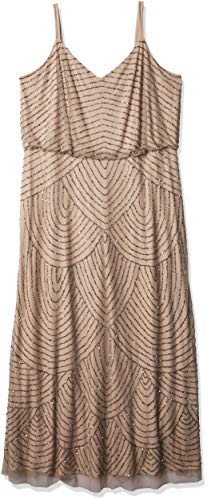 Adrianna Papell Women's Plus-Size Long Blouson Beaded Dress, Taupe/Pink, 16 (Apparel)