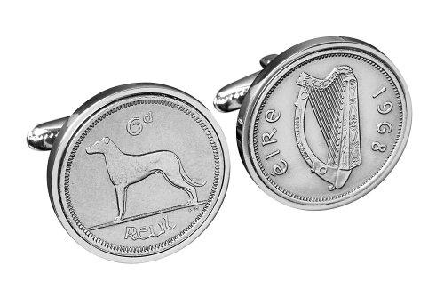 Birthday Cufflinks Boutons de manchette en pièces de 6 pence irlandais - Boîte cadeau argentée incluse
