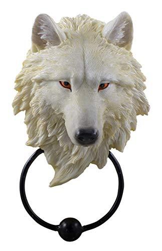 Joh. Vogler GmbH Dekorativer Türklopfer Weißer Wolfskopf mit Metallklopfer Tür Wolf