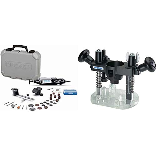 Dremel 4000-2/30 High Performance Rotary Tool Kit- 2 Attachments & 30 Accessories- Grinder, Sander, Polisher, Router, and Engraver- Perfect for Routing, Metal Cutting & 335-01 Plunge Router Attachment