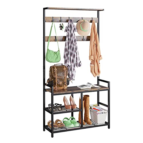ODK 3 in 1 Hall Tree Coat Rack and Shoe Bench Entryway Storage Shelves, Multipurpose Furniture Organizer with Industrial Design Metal Frame, Rustic Brown