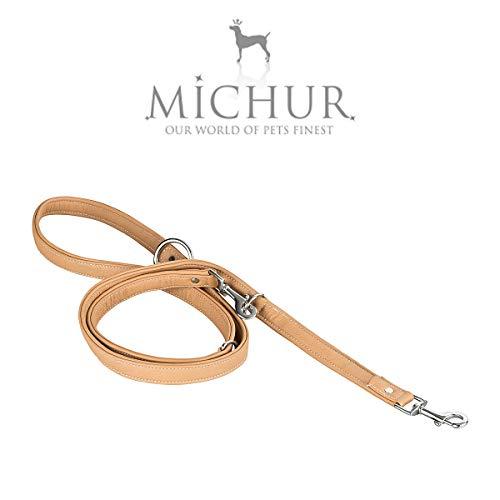 MICHUR Lasse 2m platte riem bruin beige, hondenriem leer, lederen riem hond, riem, verstelbare lengte, verstelbaar, retriever riem, LEINE LEATHER, verkrijgbaar in verschillende maten
