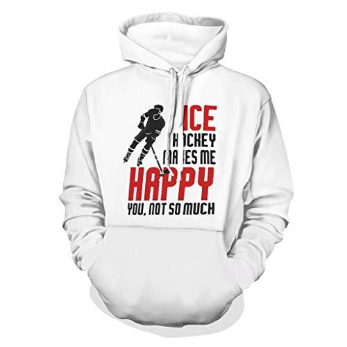 DAMKELLY Store Sudadera con capucha para hombre, diseño de hockey sobre hielo con texto en inglés 'Make my felic', color blanco, talla 2XL
