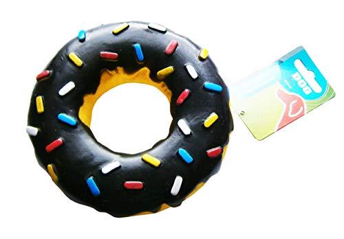 Eco Hunde-Spielzeug-Donut Geräusch Ø15cm Hundespielzeug Hund Quitsch Dog Toys 4-Varianten (Schwarz)