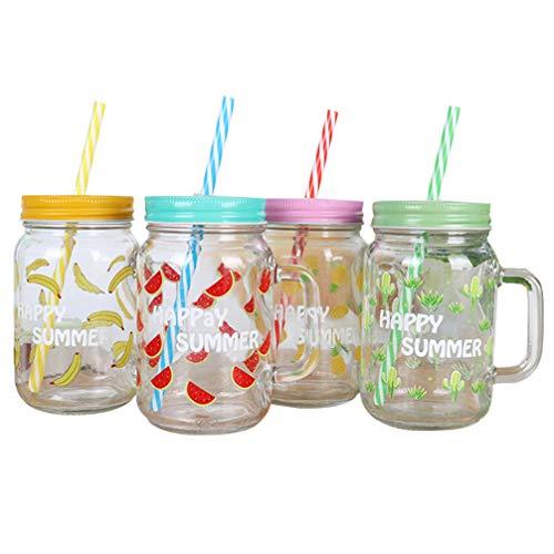 UPKOCH 4 Stück Einmachglas Becher mit Deckel Und Strohglas Trinkkrug für Saft Bier Gelb Grün Blau Rosa