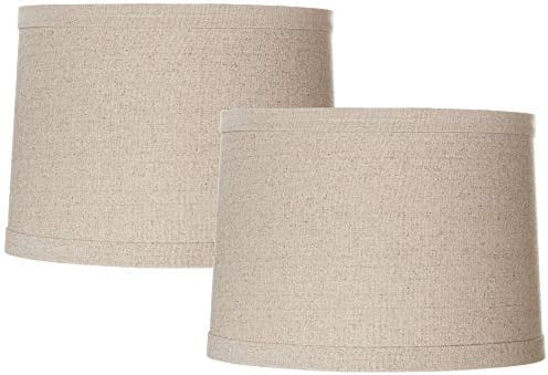 Set of 2 Natural Linen Drum Shades 13x14x10 Spider Springcrest product image
