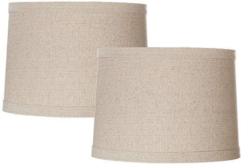 Set of 2 Natural Linen Medium Drum Lamp Shades 13