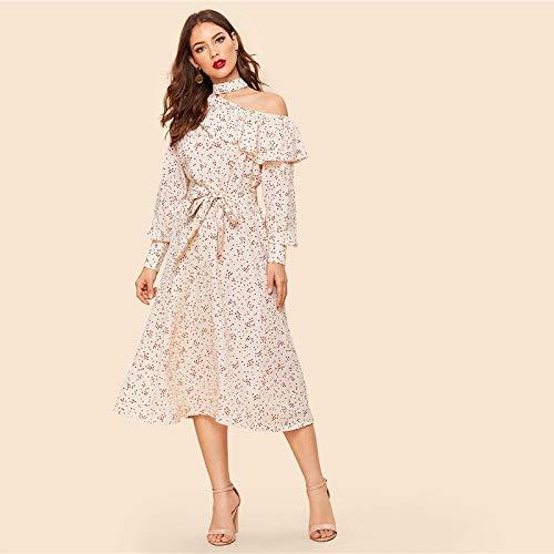 XGDLYQ Vintage Apricot Foldover Rüschen One-Shoulder Sleeve Belted Kleid Frauen Frühling Elegante Etuikleider M Apricot