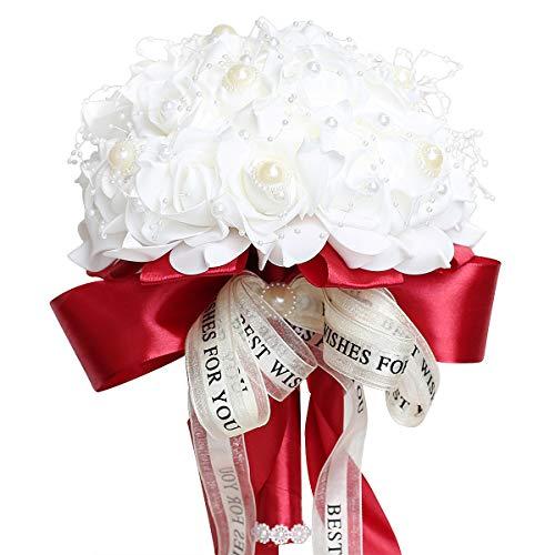Ljxoaieu Wine Red Bouquet Bridesmaid Toss Bouquet Foam Rose Bouquet with Ribbon Diamond Bridal Wedding Bouquet