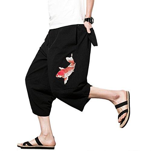 INVACHI Mens Casual Elastic Waist Linen Capri Wide Leg Baggy Harem Pants Trousers