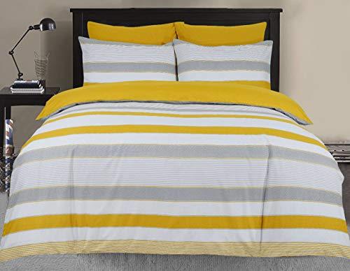 Divine Textiles Pflegeleichtes 3-teiliges Wende-Bettwäsche-Set mit 2 Kissenbezügen, Doppelbett, 200 x 200 cm, gestreift, senffarben und grau