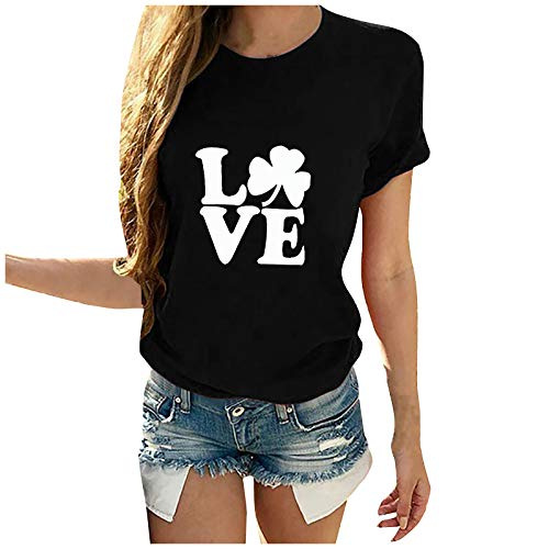 Dicomi Women Casual T-Shirt St. Patrick's Day Printed Cotton Short Sleeve Crewneck Tees Tops Black