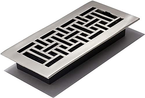 Decor Grates 4-Inch by 10-Inch Oriental Floor Register, argento, AJ410-NKL