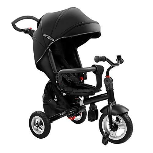 NBgy Kind Outdoor driewielers, 1-6 Jaar Oude Meisjes Jongens 4 In 1 Met Drukknop Handvat driewielers, Kinderen Zon Schaduw Trike, Zwart Roterende Stoel