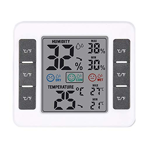 zNLIgHT Tool | Indoor Digital Screen Thermometer Max/Min Temperatuur Vochtigheid Detector Meter - Wit OneSize Kleur: wit
