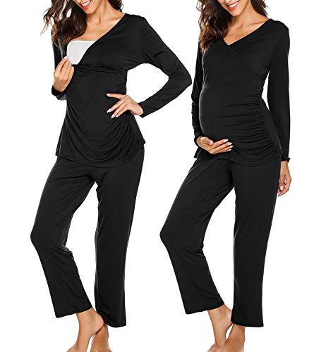 Ekouaer Women Soft Maternity & Nursing Pajamas Sleepwear Set Black