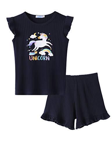 Bricnat Mädchen Pyjama Einhorn Kurz 128 Zweiteiliger Schlafanzug Kinder Unicorn Baumwolle Ärmellos 1 T-Shirt& 1 Hose 122 Sommer Dunkelblau 130