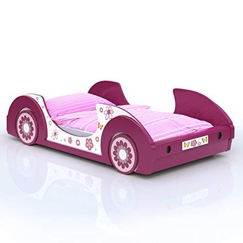 Deuba Kinderbett aus Holz | 90x200cm | Gestell mit Rost | Holz | pink weiß Mädchenbett Autobett Bett Kinderzimmer