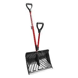 professional Snow Joe SJ-SHLV01-RED Anti-warping snow shovel | 18 inches | Spring-loaded handle…
